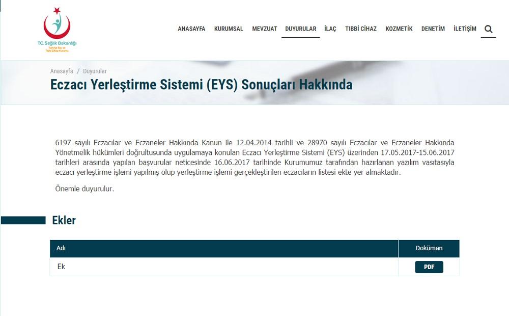 Eczacı Yerleştirme Sistemi (EYS) Sonuçları
